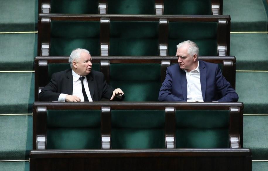 Jarosław Kaczyński i Jarosław Gowin / Leszek Szymański    /PAP