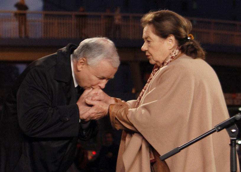 Jarosław Kaczyński i Katarzyna Łaniewska w 2013 roku /Krystian Dobuszyński /Reporter