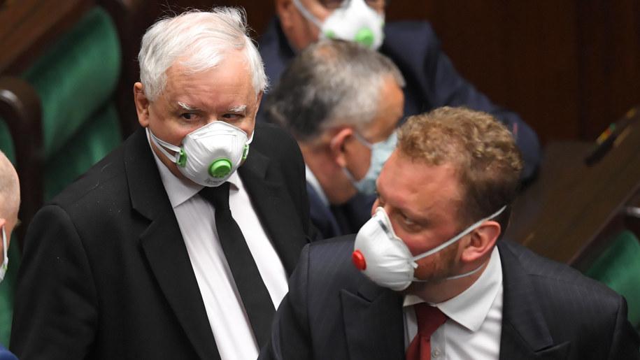 Jarosław Kaczyński i Łukasz Szumowski / Radek Pietruszka   /PAP