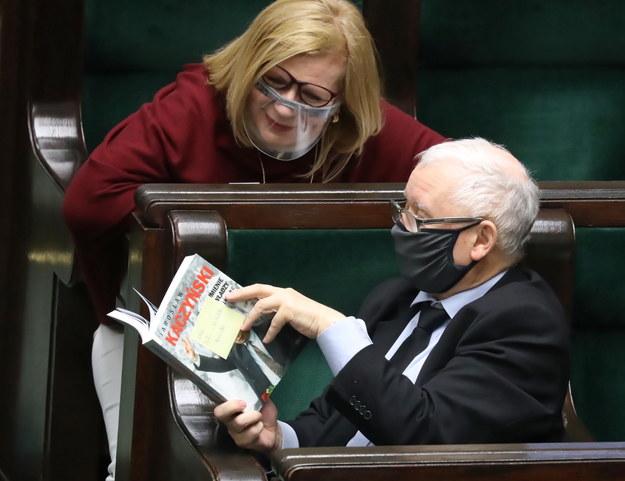 Jarosław Kaczyński i Małgorzata Gosiewska w Sejmie / Tomasz Gzell    /PAP