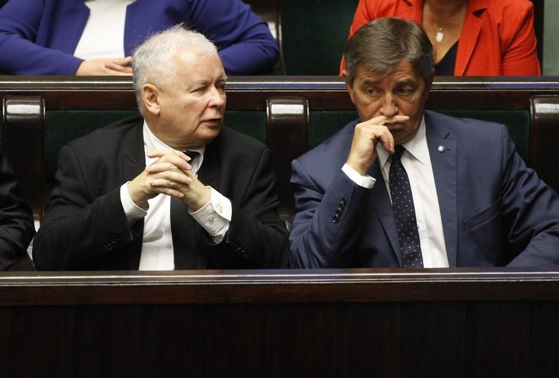 Jarosław Kaczyński i Marek Kuchciński /Stefan Maszewski /Reporter