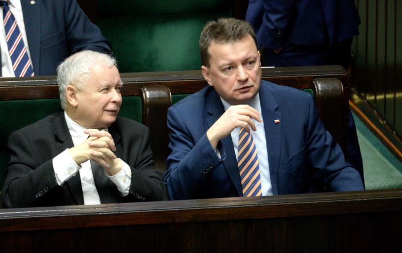 Jarosław Kaczyński i Mariusz Błaszczak /Marcin Obara /PAP