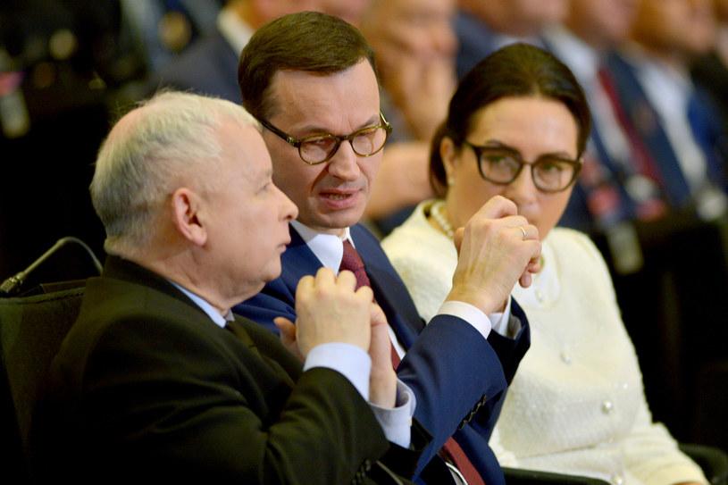 Jarosław Kaczyński i Mateusz Morawiecki w Katowicach /Łukasz Kalinowski /East News