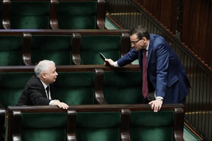 Jarosław Kaczyński i Mateusz Morawiecki w Sejmie, zdjęcie ilustracyjne /Mateusz Wlodarczyk /Agencja FORUM