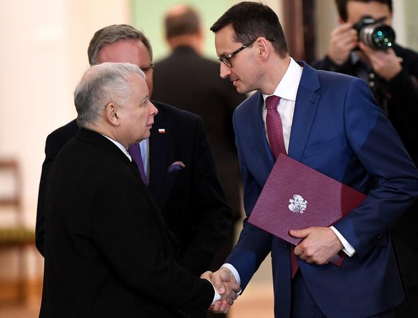 Jarosław Kaczyński i Mateusz Morawiecki /AFP