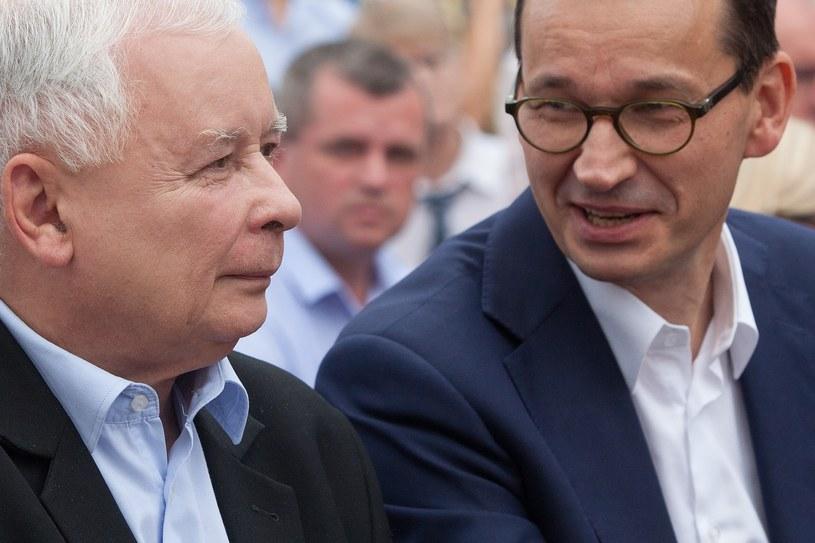 Jarosław Kaczyński i Mateusz Morawiecki /Stefan Maszewski /Reporter