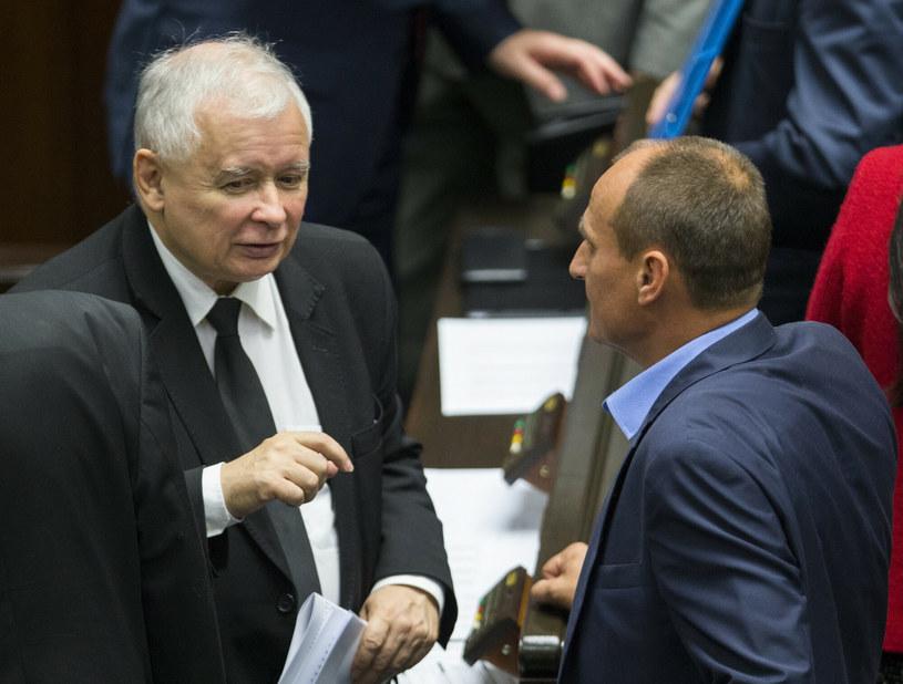 Jarosław Kaczyński i Paweł Kukiz /fot. Andrzej Iwanczuk /Reporter