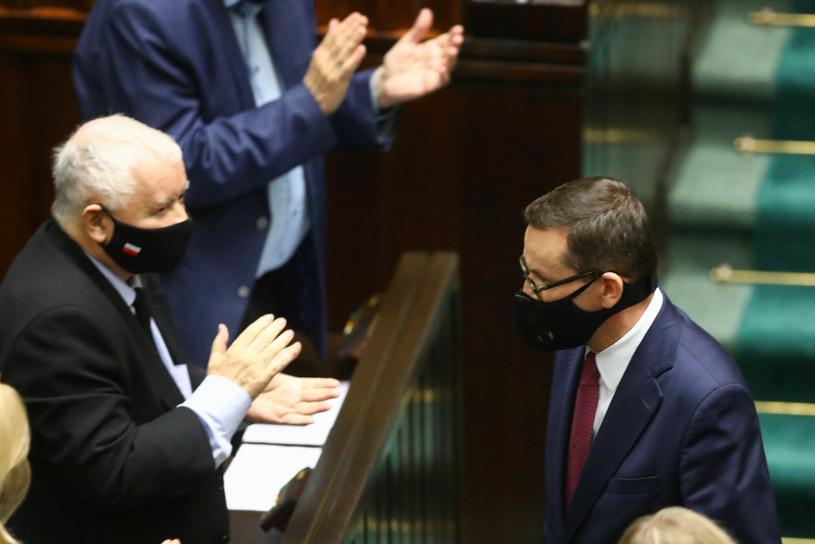 Jarosław Kaczyński i premier Mateusz Morawiecki w Sejmie /Tomasz Jastrzebowski/REPORTER /Reporter