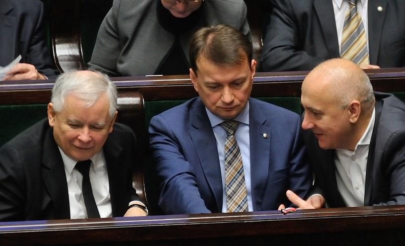 Jarosław Kaczyński i wiceprezesi PiS /Witold Rozbicki /Reporter
