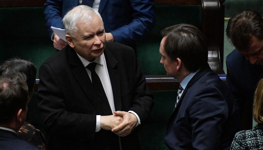 Jarosław Kaczyński i Zbigniew Ziobro / Marcin Obara  /PAP