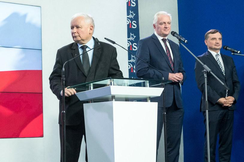 Jarosław Kaczyński, Jarosław Gowin, Zbigniew Ziobro /Andrzej Iwańczuk /Reporter