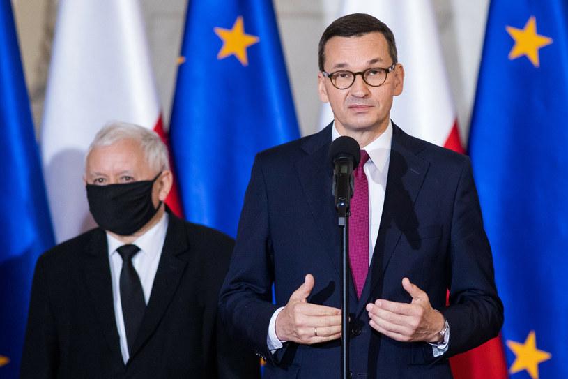 Jarosław Kaczyński (L) i Mateusz Morawiecki /Andrzej Iwańczuk /Reporter