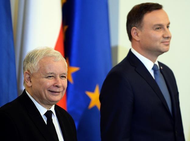 Jarosław Kaczyński (L), lider PiS, Andrzej Duda, prezydent RP /AFP