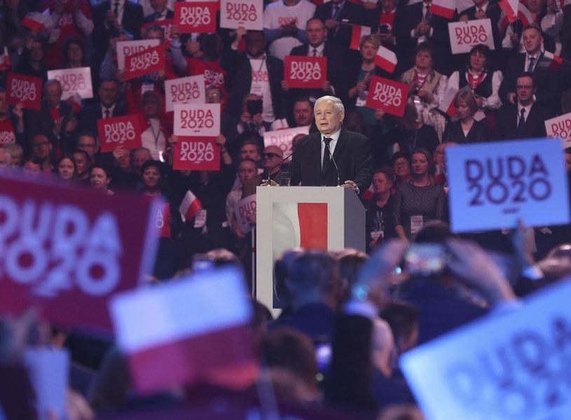 Jarosław Kaczyński na konwencji Andrzeja Dudy /AP /East News