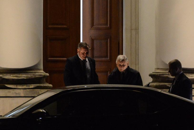 Jarosław Kaczyński na spotkaniu z prezydentem w Belwederze /Jakub Kamiński   /PAP