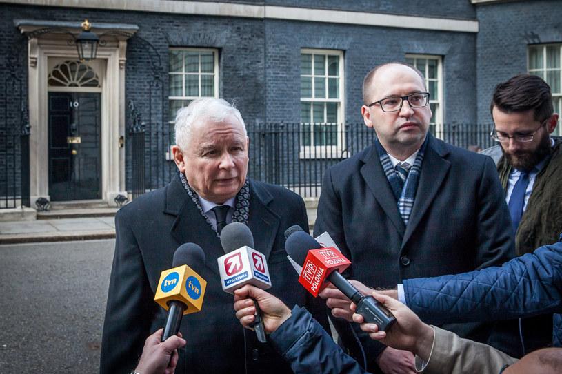 Jarosław Kaczyński po spotkaniu z premier Theresą May /Piotr Apolinarski /Agencja FORUM