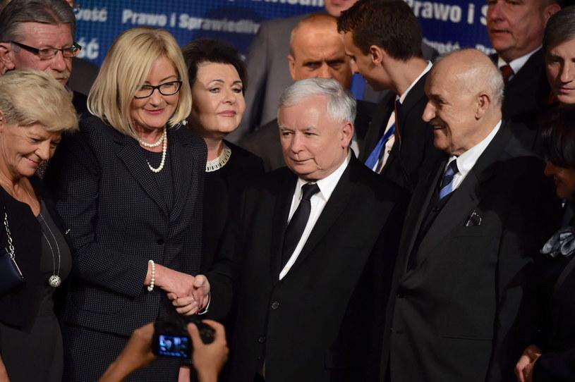 Jarosław Kaczyński podczas konwencji wyborczej PiS w Łodzi /Grzegorz Michałowski /PAP