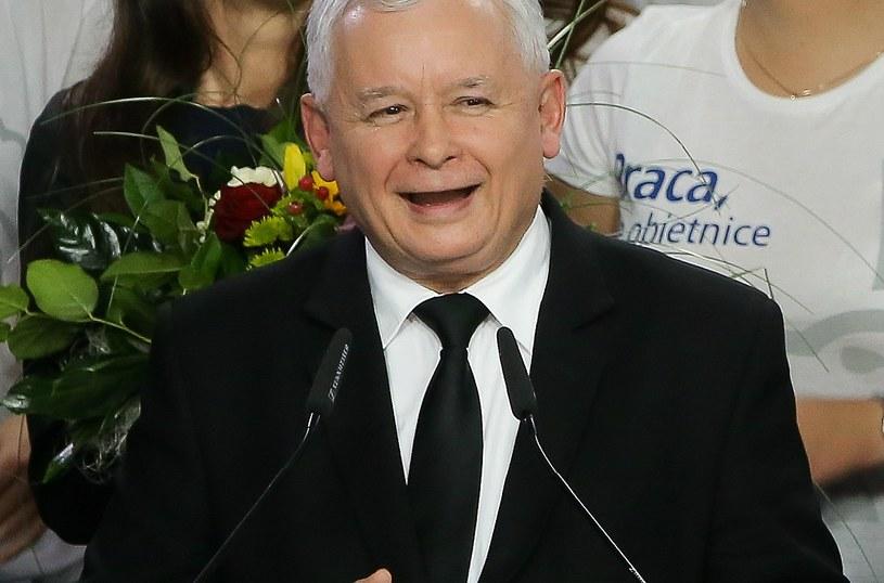 Jarosław Kaczyński podczas wieczoru wyborczego Prawa i Sprawiedliwości /Paweł Supernak /PAP