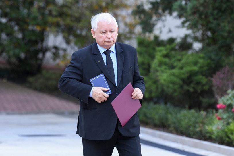 Jarosław Kaczyński podczas zaprzysiężenia nowych ministrów /Jacek Domiński /Reporter