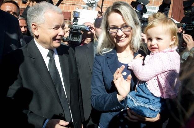 Jarosław Kaczyński w gminie Goszczanów/fot. G. Michałowski /PAP