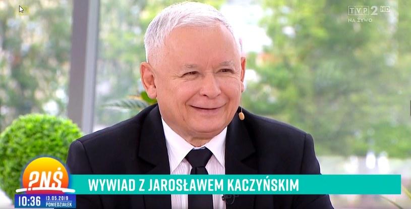 """Jarosław Kaczyński w """"Pytaniu na śniadanie"""" (screen z TVP) /materiały prasowe"""