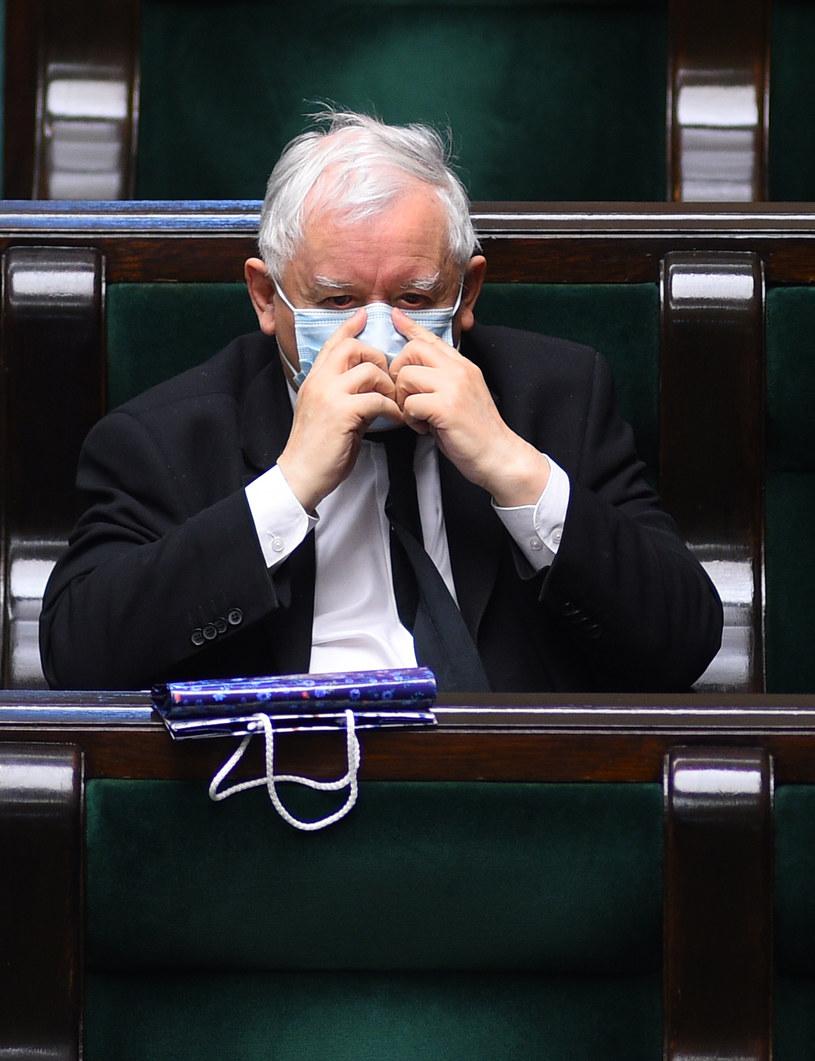 Jarosław Kaczyński w Sejmie w dniu 16 kwietnia 2020 roku /Adam Chelstowski /Agencja FORUM