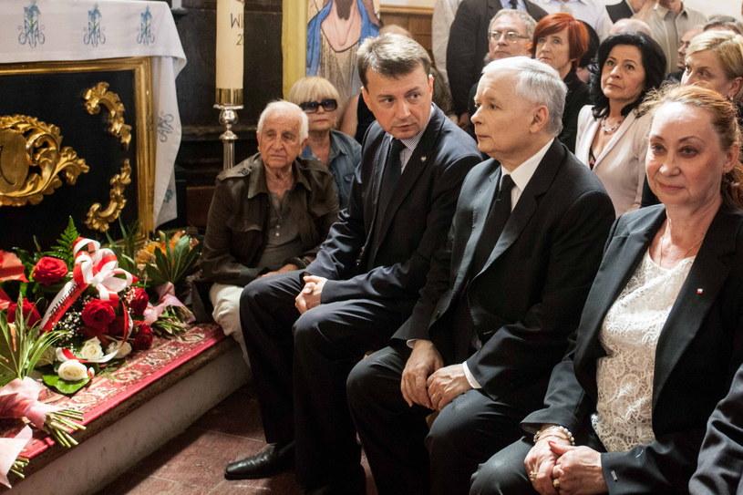 Jarosław Kaczyński wziął udział w uroczystości odsłonięcia pomnika /Michał Walczak /PAP