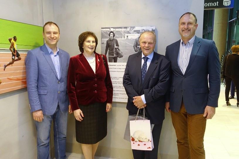 Jarosław Szewiński, Irena Sewińska, Janusz Szewiński i Andrzej Szewiński, 2018 r. /Wojtek Laski /East News