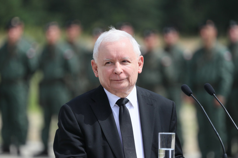 Jarosława Kaczyńskiego na konferencji na temat pozyskania przez Siły Zbrojne RP czołgów M1A2 Abrams SEPv3 /Piotr Molecki /East News