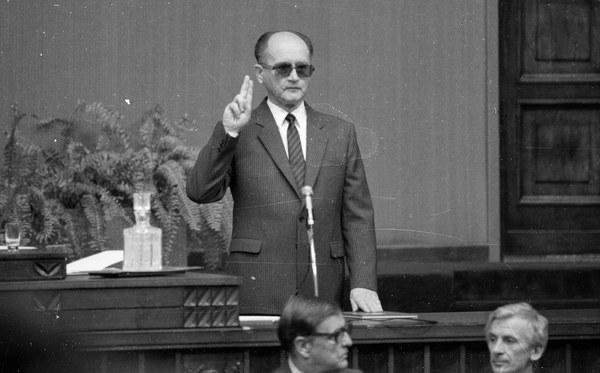 Wojciech Jaruzelski podczas składania przysięgi, 19.07.1989