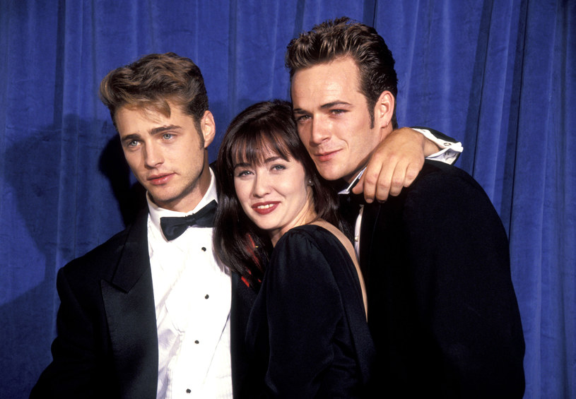 Jason Priestley, Shannen Doherty i Luke Perry w 1991 /Getty Images