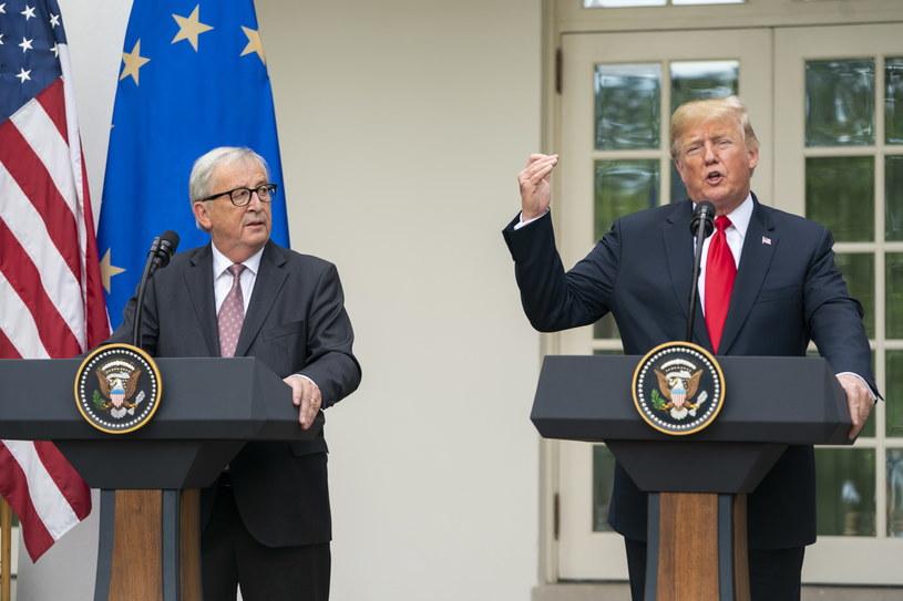 Jean-Claude Juncker i Donald Trump /JIM LO SCALZO /PAP/EPA