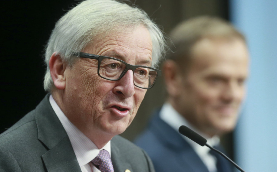 Jean-Claude Juncker i Donald Tusk /PAP/EPA/OLIVIER HOSLET /PAP/EPA