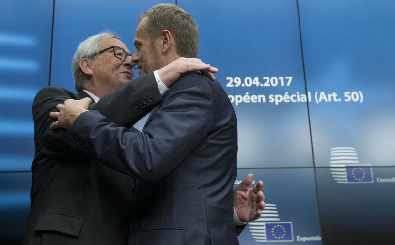 Jean-Claude Juncker i Donald Tusk /OLIVIER HOSLET /PAP/EPA