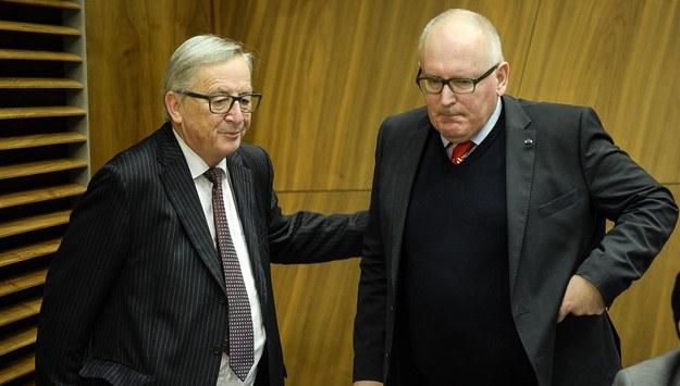 Jean-Claude Juncker i Frans Timmermans /Wiktor Dąbkowski   /PAP/EPA
