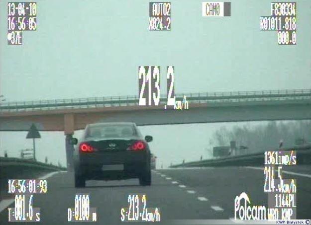 Jechał 213 km/h... /Policja