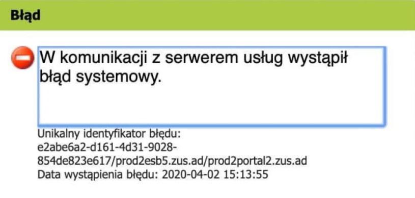 Jeden z błędów pojawiających się po nieudanej próbie skorzystania ze strony Zus.pl /INTERIA.PL