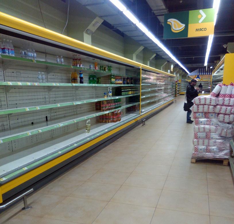 Jeden z donieckich supermarketów – duża część sklepów świeci pustkami /Marcin Ogdowski /INTERIA.PL