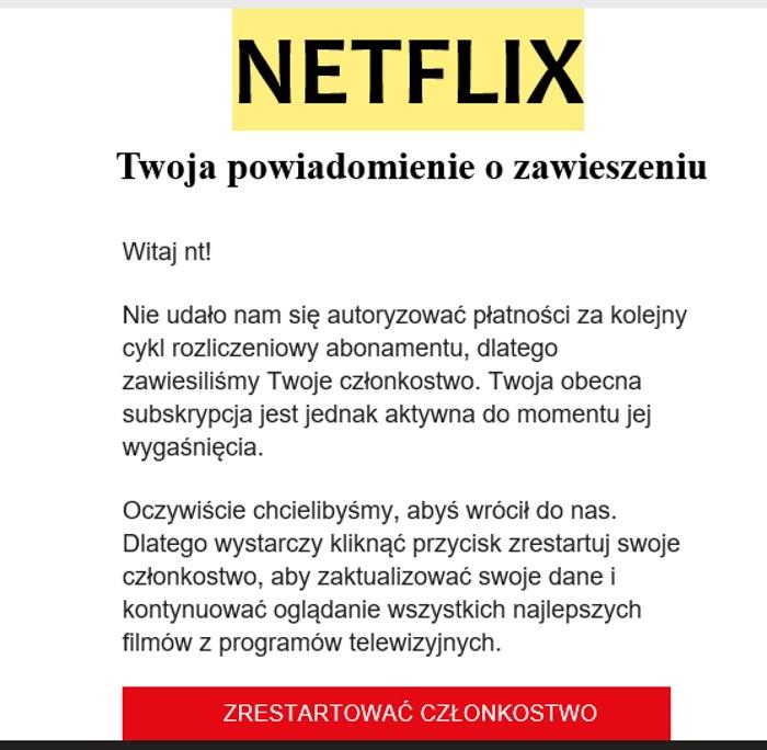 Jeden z fałszywych maili, jaki trafił do internautów. Zrzut ekranu. /INTERIA.PL