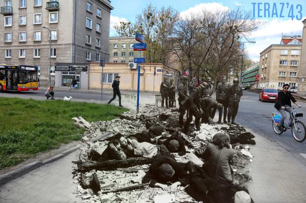 Jeden z kolaży zamieszczonych w książce. Nowolipie 62 róg Smoczej. Archiwalna fotografia pochodzi z raportu Stroopa /Teraz'43/Marcin Dziedzic /