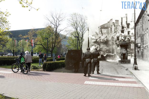 Jeden z kolaży zamieszczonych w książce. Zamenhofa 26 przed Gęsią. Archiwalne zdjęcie pochodzi z raportu Stroopa /Teraz'43/Marcin Dziedzic /