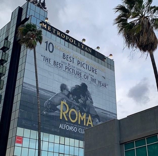 """Jeden z licznych bannerów promujących """"Romę"""" Alfonso Cuarona /Paweł Żuchowski /RMF FM"""