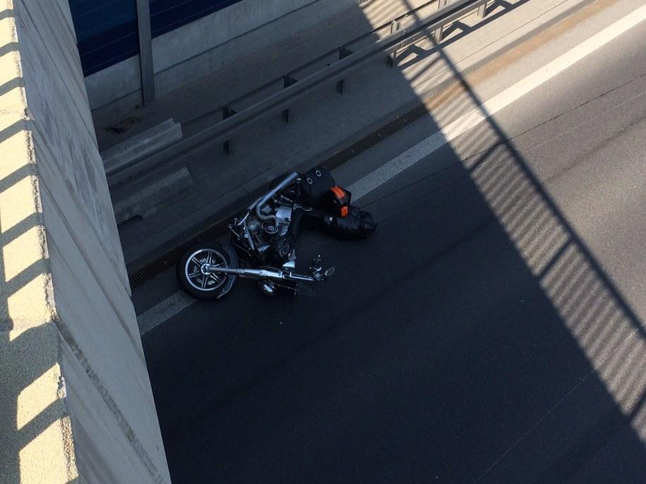 Jeden z motocykli, które uderzyły w hondę /Tomasz Skory  /RMF FM