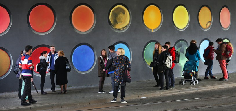 Jeden z murali z Ronda Mogilskiego, fot. Beata Zawrzeł /Reporter