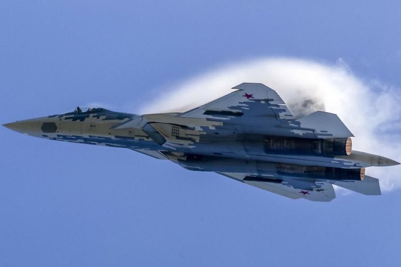 Jeden z nielicznych publicznych pokazów najnowszego myśliwca rosyjskiego, Su-57 /SOPA Images/Sipa USA /East News
