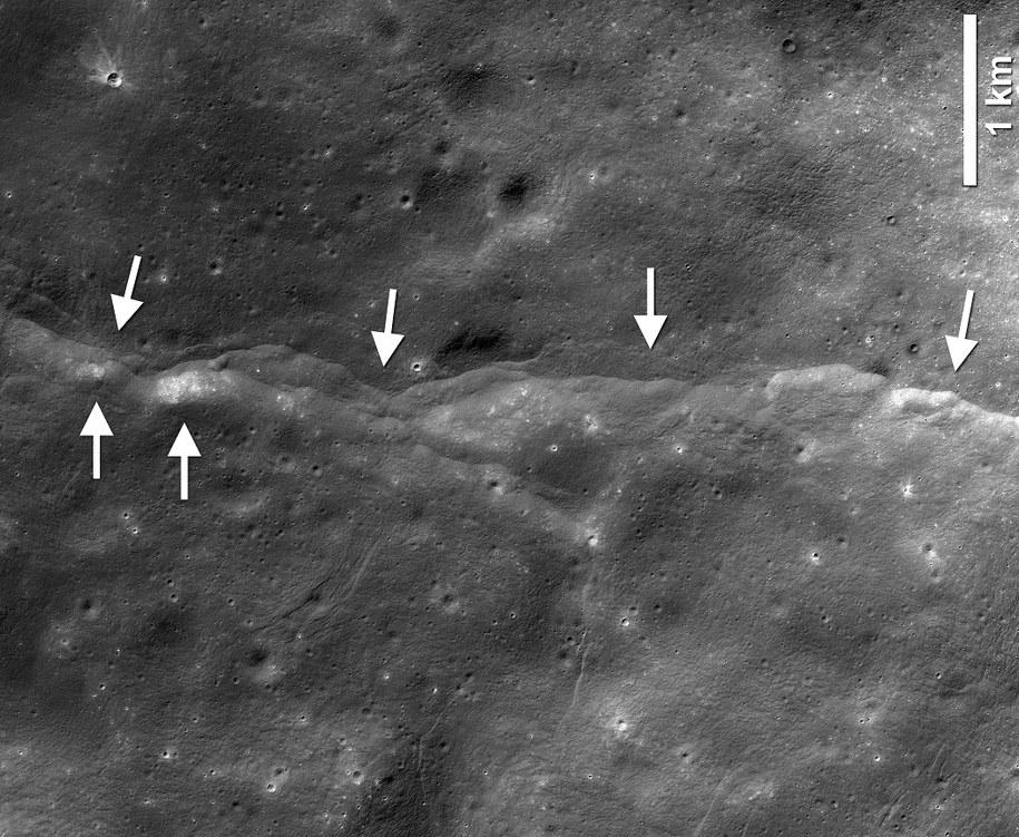 Jeden z około 3500 uskoków tektonicznych na księżycu, zobrazowanych przez sondę LRO /LROC NAC frame M190844037LR; NASA/GSFC/Arizona State University/Smithsonian /Materiały prasowe
