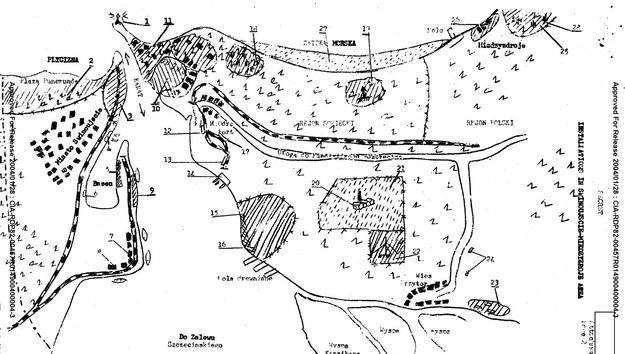 """Jeden z planów narysowanych przez """"Sputnika"""" /Muzeum Obrony Wybrzeża, Fort Gerharda w Świnoujściu /"""