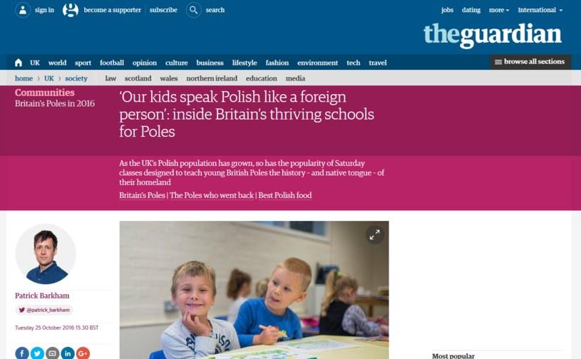Jeden z tekstów o Polakach mieszkających w Wielkiej Brytanii/fot. https://www.theguardian.com /