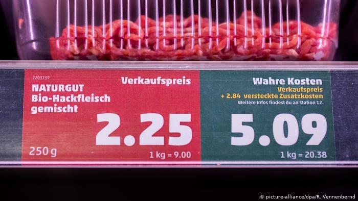 Jeden ze sklepów sieci Penny przedstawia ceny w dwóch wersjach - oficjalnej oraz uzupełnionej o koszty klimatyczne /Deutsche Welle