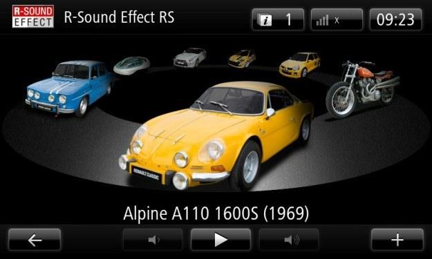 Jedna z aplikacji pozwala wybrać dźwięk silnika naśladujący sportowe legendy... /Renault
